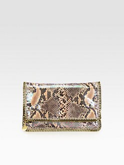 Stella McCartney - Large Shiny Python-Print Foldover Clutch