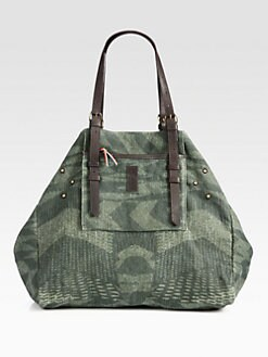 Jerome Dreyfuss - Printed Linen Shopper Tote