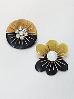 Marni - Crystal Floral Brooch Set