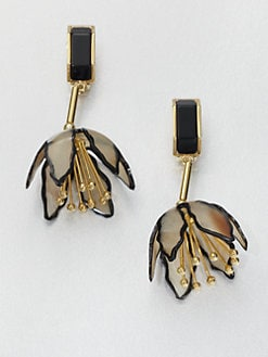 Marni - Horn Floral Clip-On Drop Earrings