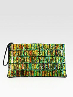 Stella McCartney - Mottled Stone & Faux Alligator Oversized Clutch