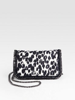 Stella McCartney - Falabella Abstract Printed Linen Chain Clutch