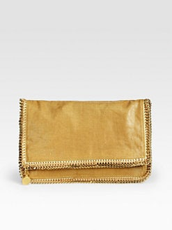 Stella McCartney - Metallic Linen Fold-Over Clutch