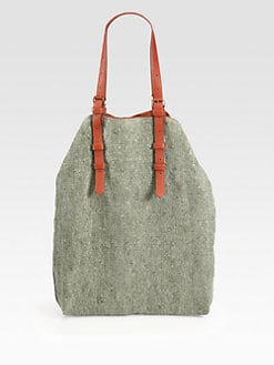 Jerome Dreyfuss - Mouss Linen & Leather Tote Bag