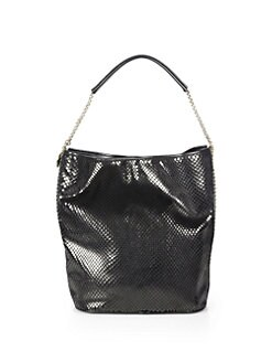 Stella McCartney - Python-Embossed Velvet Hobo Bag