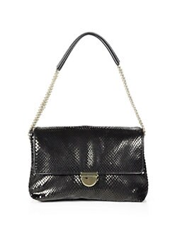 Stella McCartney - Python-Embossed Velvet Shoulder Bag