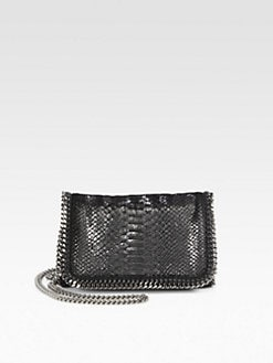 Stella McCartney - Python-Embossed Velvet Foldover Clutch