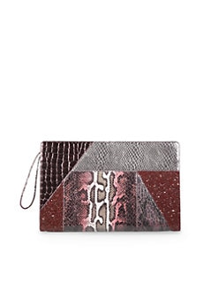 Stella McCartney - Oversize Patchwork Clutch/Garnet