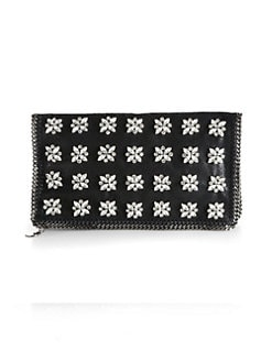 Stella McCartney - Embellished Faux Leather Fold-Over Clutch