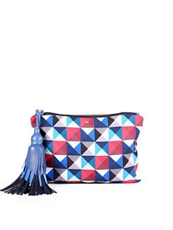 Anya Hindmarch - Courtney Twister Pyramid-Print Canvas Clutch