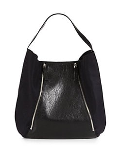 Marni - Leather & Felt Double Zip Shoulder Bag