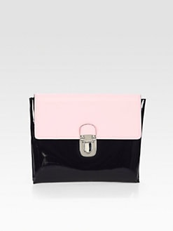 Marni - Oversized Bicolor Patent Leather Clutch