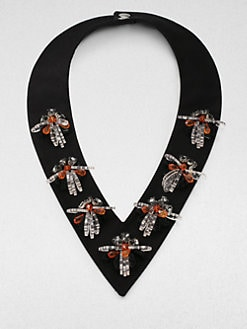Marni - Embellished V-Neck Collar Necklace