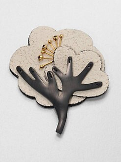 Marni - Leather & Resin Tree Brooch