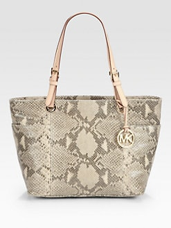 MICHAEL MICHAEL KORS - Jet Set Python Embossed Leather Tote