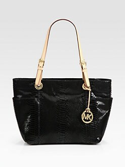 MICHAEL MICHAEL KORS - Snake-Embossed Patent Leather Tote