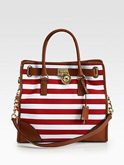 MICHAEL MICHAEL KORS - Hamilton Striped Canvas North South Tote