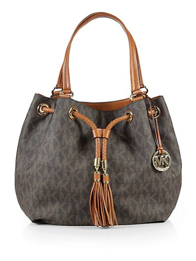 87b459d8dba2 MICHAEL MICHAEL KORS Jet Set Item Large Coated-Canvas & Leather Gathered  Logo Tote