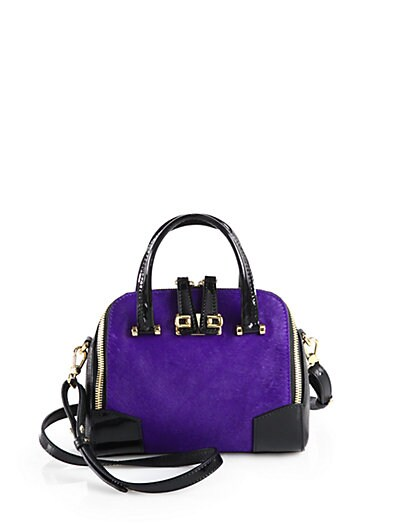 Hair Calf and Patent Leather Satchel