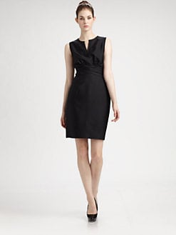 Pink Tartan - Ruched-Waist Fitted Dress