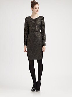Pink Tartan - Metallic Print Knit Dress