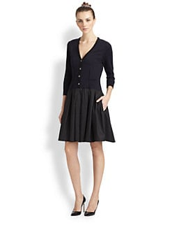 Pink Tartan - V-Neck Cardigan Dress