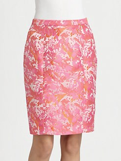 Pink Tartan - Jacquard Pencil Skirt