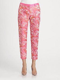 Pink Tartan - Jacquard Cropped Pants