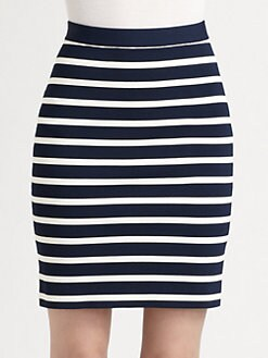 Pink Tartan - Striped Powerstretch Pencil Skirt
