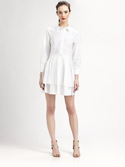 Pink Tartan - Tiered-Hem Shirtdress