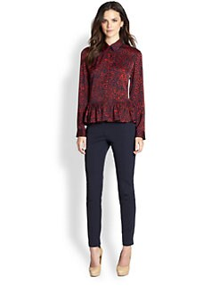 Pink Tartan - Painterly-Print Silk Jersey Blouse