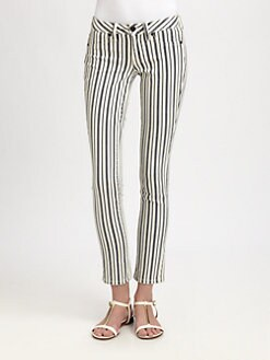 Tory Burch - Striped Denim Leggings