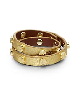 Tory Burch - Double Wrap Metallic Leather Bracelet/Gold