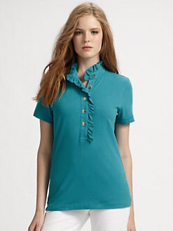 Tory Burch - Lidia Ruffle-Collar Polo Shirt