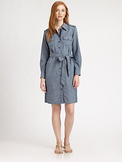 Tory Burch - Brigitte Cotton Chambray Shirtdress