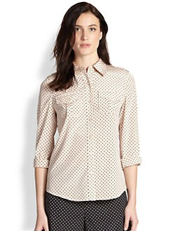 Tory Burch - Stretch Silk Dot Blouse