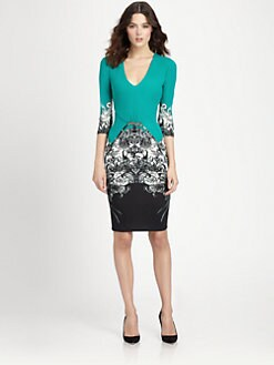 Roberto Cavalli - Brooch-Detailed Printed Stretch Jersey Dress