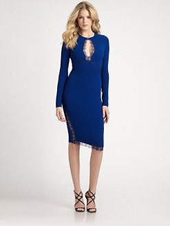 Roberto Cavalli - Lace-Trimmed Stretch Jersey Keyhole Dress