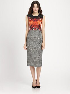 Roberto Cavalli - Printed Stretch Wool Crepe Dress