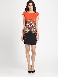 Roberto Cavalli - Printed Brooch-Detailed Stretch Jersey Dress