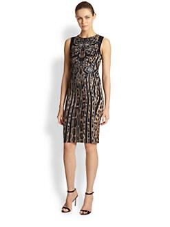 Roberto Cavalli - Leopard Mixed-Print Sheath Dress