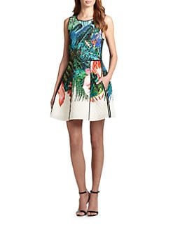 Roberto Cavalli - Quilted Tropical-Print Silk Dress