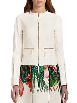 Roberto Cavalli - Perforated Leather Moto Jacket
