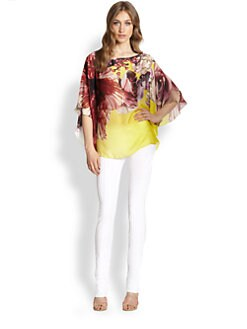 Roberto Cavalli - Silk Printed Kaftan Top