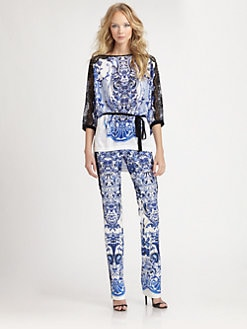 Roberto Cavalli - Leeds Lace-Trimmed China Print Top