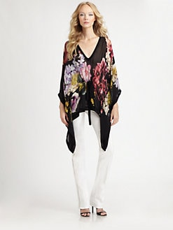 Roberto Cavalli - Silk Chiffon Floral Print Caftan Blouse