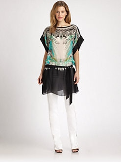 Roberto Cavalli - Printed Silk Tie-Waist Tunic