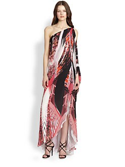 Roberto Cavalli - Printed Silk One-Shoulder Kaftan