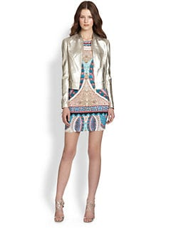 Roberto Cavalli - Perforated Metallic Leather Jacket