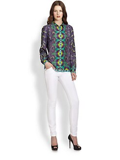 Roberto Cavalli - Silk Snake-Print Blouse